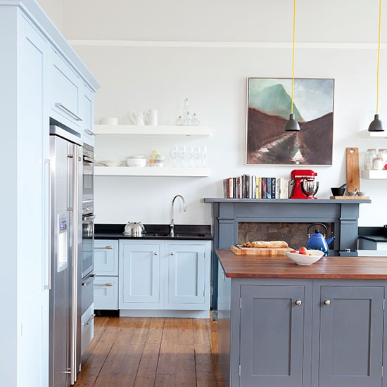 White Kitchen With Painted Units In Blue And Grey Kitchen Decorating