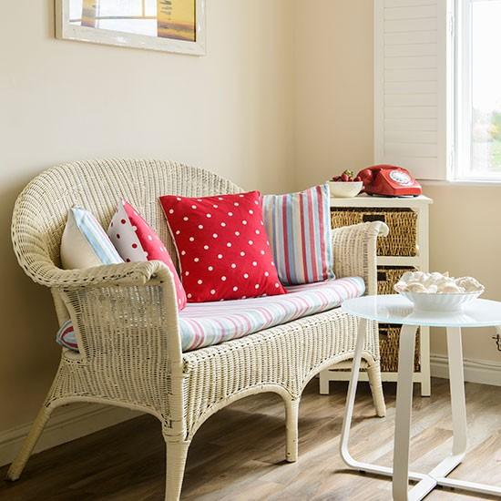 Cream Living Room With Rattan Sofa
