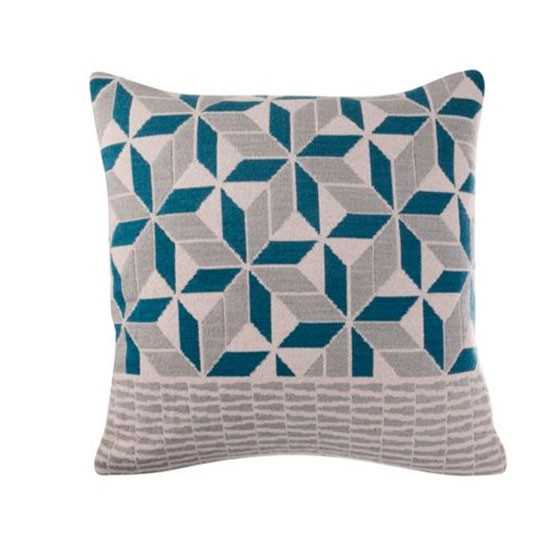 linea teal geometric design knitted cushion from house of. Black Bedroom Furniture Sets. Home Design Ideas
