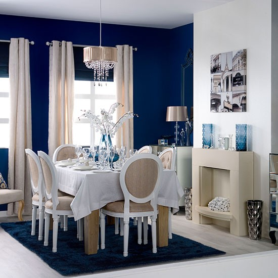 Elegant blue and white dining room dining room for White dining room decor