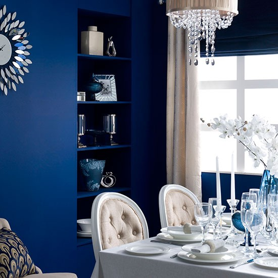 Blue Dining Room With White Table And Chairs Decorating