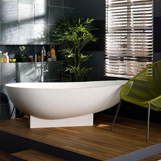 Slate Bathroom Modern Bathrooms And Rustic: Modern Bathroom With Grey Tiling