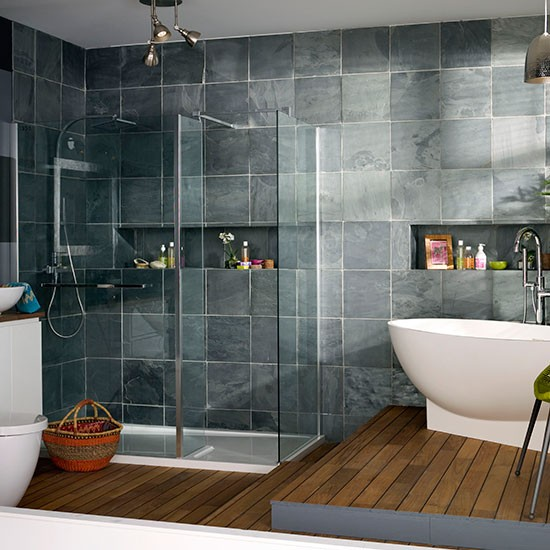 Modern bathroom with oak flooring and grey tiles for Bathroom grey tiles ideas