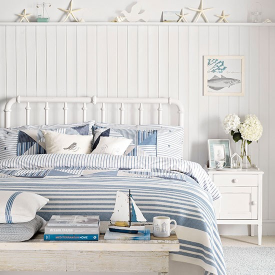 Blue And White Bedroom With Coastal Theme