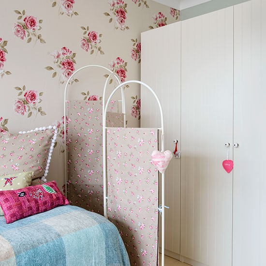 Girl's Bedroom With Floral Screen