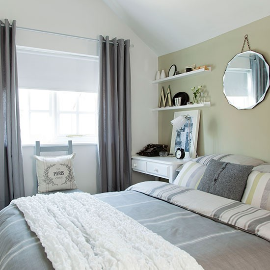 Soft green and grey bedroom bedroom decorating ideas for Bedroom ideas uk