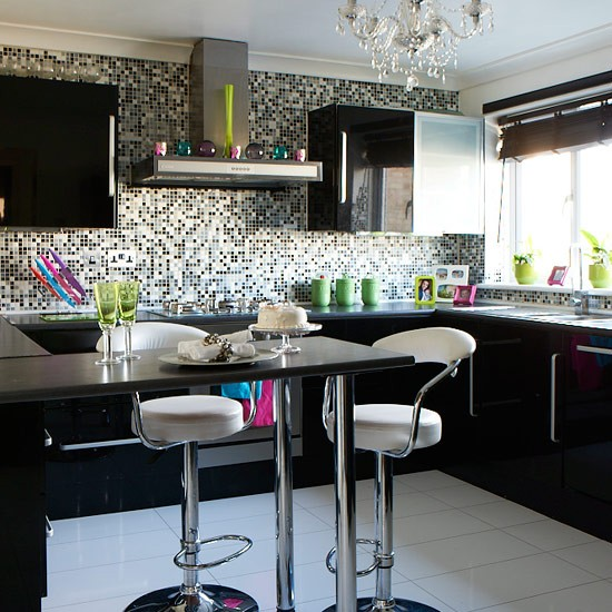 White Kitchen Units Black Tiles modren white kitchen units black tiles there countertopskitchens
