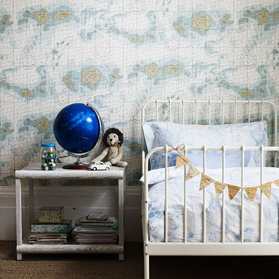 Childrens Bedroom With Map Wallpaper