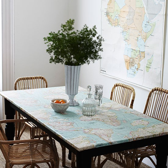 dining room with map print tablecloth dining room decorating homes