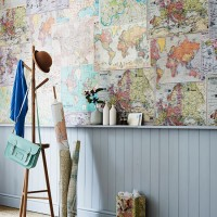 Hallway decorated with map montage