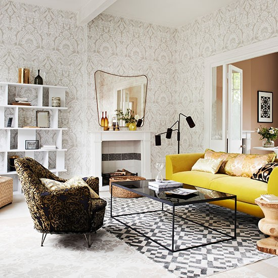 Living room with damask wallpaper and armchair living for Damask wallpaper living room ideas