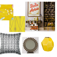 Grey room with yellow accents