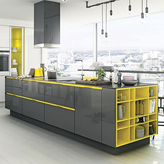 Contrasting coloured cabinetry | Gloss kitchens | Kitchen | PHOTO GALLERY | Beautiful Kitchens | Housetohome.co.uk