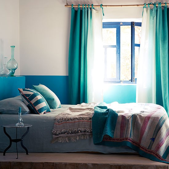 Peacock blue and green bedroom  Bedroom decorating ...