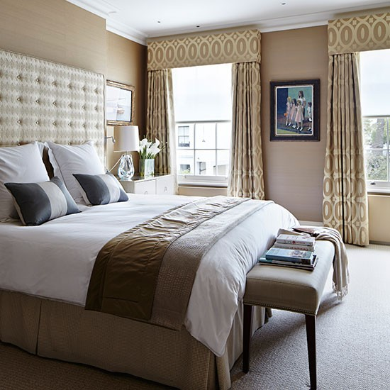 Tonal brown and beige bedroom bedroom decorating for Bedroom design uk