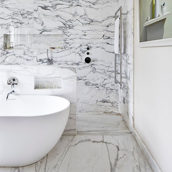 White bathroom with marble lined shower spa style for Stone bathroom wallpaper