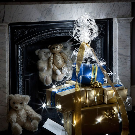Fireplace presents display modern christmas decorating ideas