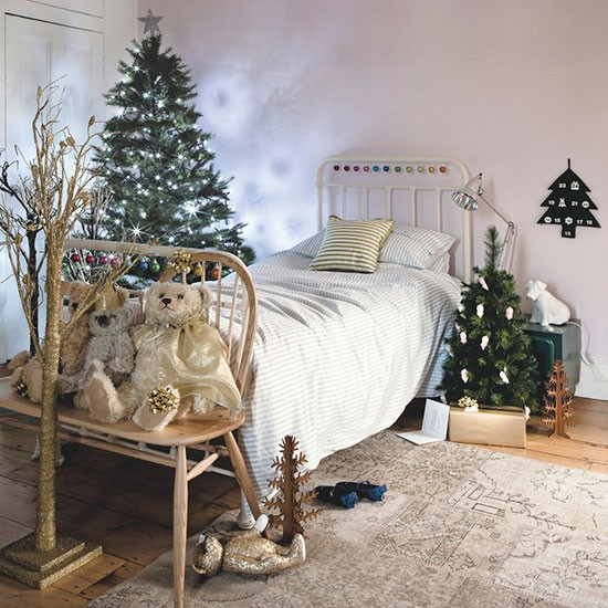 Bedroom With Midnight Forest Christmas Decorations