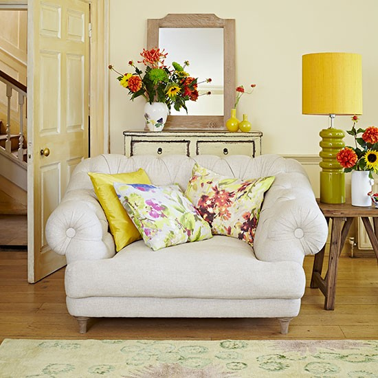 pale yellow and floral living room