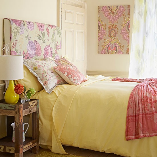 Soft pink and yellow floral bedroom