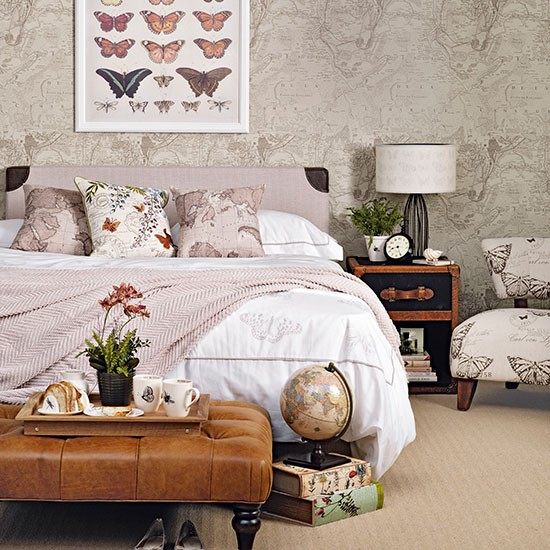 soft pink and taupe bedroom with map wallpaper bedroom