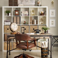 Traditional home office with leather chair