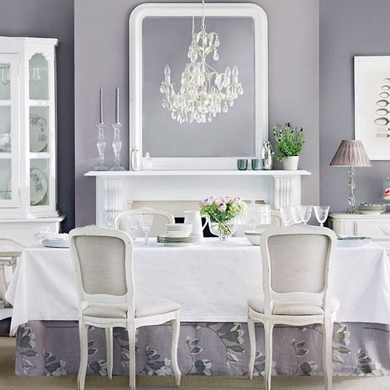 Lavender and white dining room dining room decorating for Dining room ideas grey and white