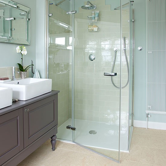 Mint green bathroom with walk in shower bathroom for Green and gray bathroom designs