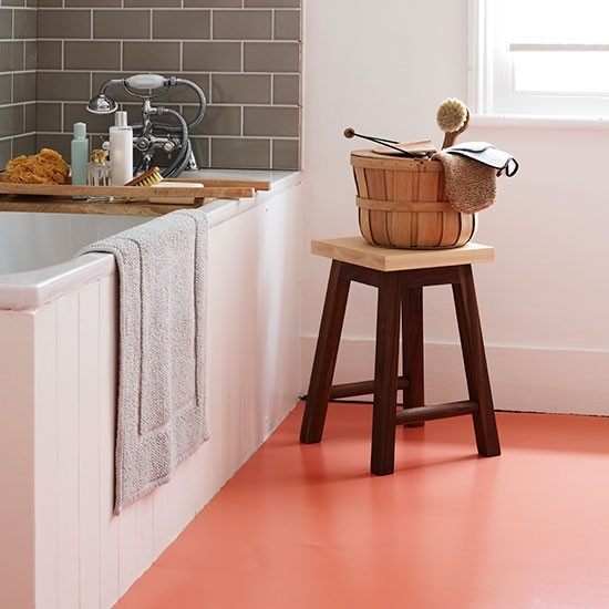Bathroom with orange vinyl flooring contemporary for Bathroom floor ideas uk