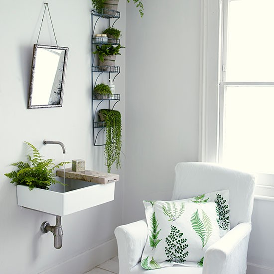 White bathroom with plants