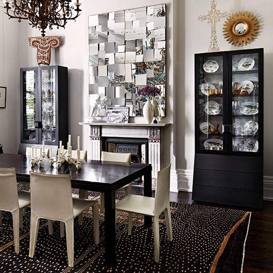 Monochrome Dining Room With Cabinets Dining Room Storage Ideas Housetohom