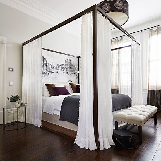 White bedroom with four poster bed bedroom decorating for Four bedroom design