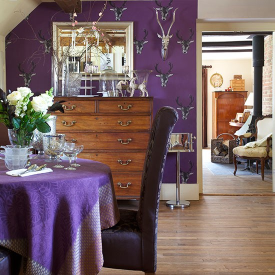 Purple dining room with stag heads l dining room for Dining room ideas purple