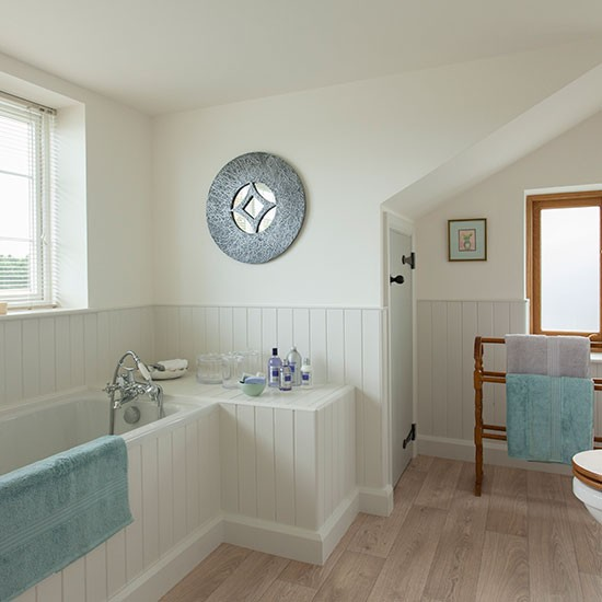 Check out this country style bathroom for Wood panelling bathroom ideas