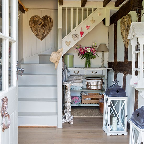 Country Hallway With Painted Stairs Hallway Decorating