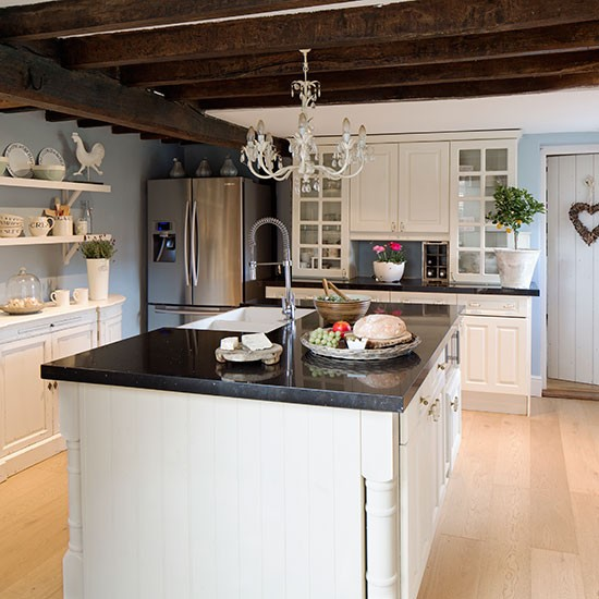 Country Kitchen With Chandelier