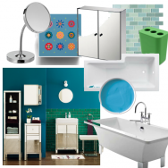 Bathroom in rich blue and green