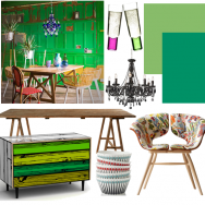 Green eclectic dining room