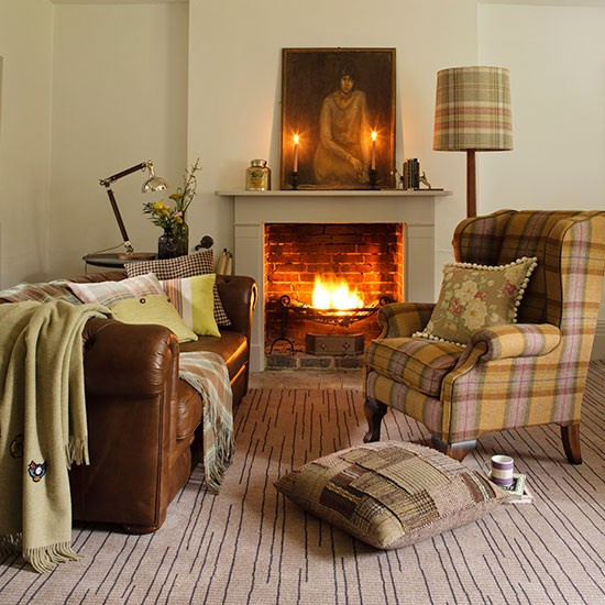 Earth toned Living Room Winter Decorating Housetohome
