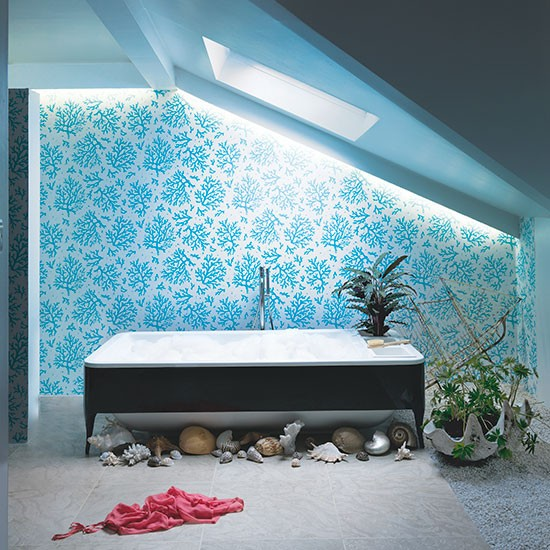 Aqua Blue Bathroom With Motif Wallpaper