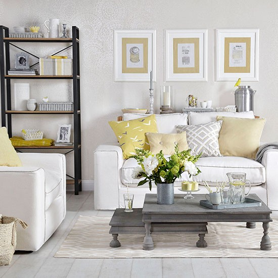 Dove grey living room with yellow cushions living room decorating - Grey and yellow room ...