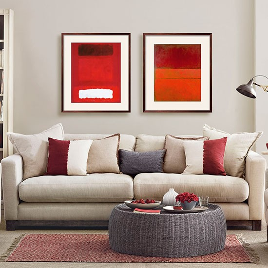 Mushroom Grey And Red Living Room Decorating