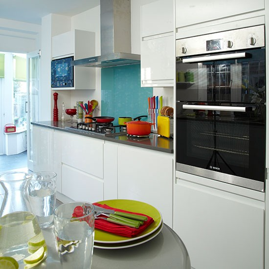 White Kitchen With Blue Glass Splashback Kitchen