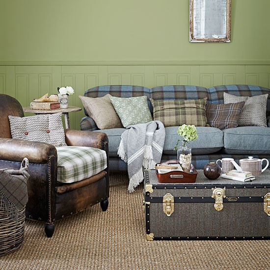 And Blue Check Country Living Room Living Room Decorating Country