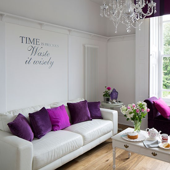 Simple white living room with purple cushions small for Living room ideas purple