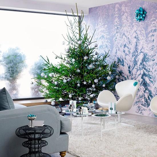 Christmas Tree With Winter Wonderland Mural Modern Christmas Living Room Ideas