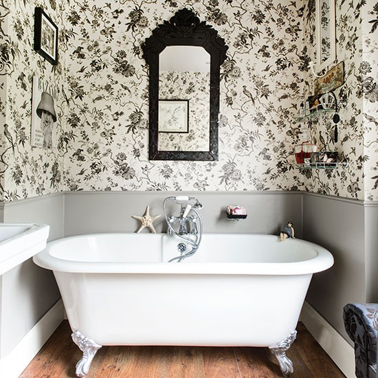 Black and white bathroom with roll top bath bathroom for Bathroom ideas uk pinterest