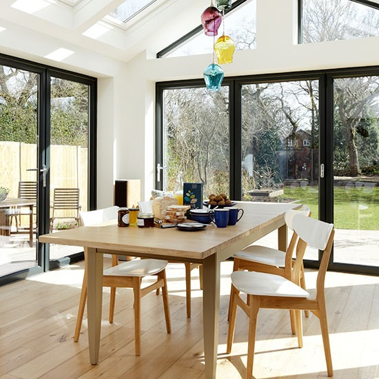 Conservatory Dining Area With Oak Flooring