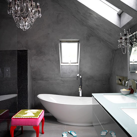 Concrete bathroom with colourful stool | Modern bathroom | PHOTO GALLERY | Livingetc | Housetohome.co.uk