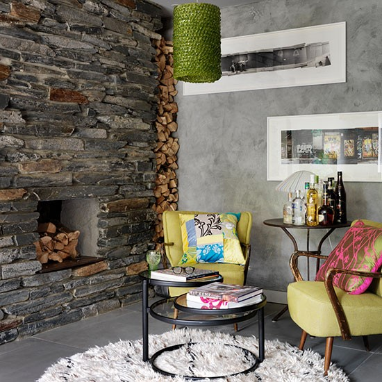 Modern Living Room With Slate Fireplace Decorating